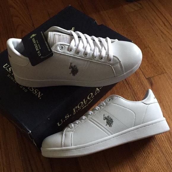 Polo White Leather Tennis Shoes